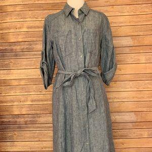 Max Studio 100% Linen denim button up dress size M